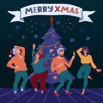 Banner di natale allegro, biglietto di auguri con albero di natale, gruppo di quattro persone felici, uomini e donne che ballano in cappelli da festa, bevendo champagne e banner con testo