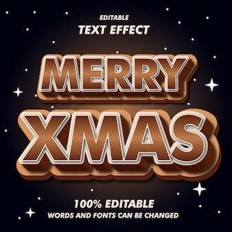 Merry xmas brown effetti di testo 3d