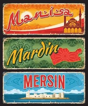 Insegne, targhe della provincia di mersin, mardin e manis turchia. etichette per bagagli turche il provinces