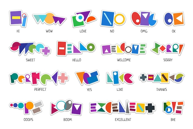 Set di etichette adesive astratte per messaggi per la chat di rete di social media semplici parole di forma colorata grafica