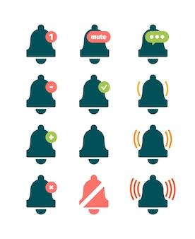 Campanello messaggio. simboli di promemoria sonoro telefono anello invito campanelli vettore raccolta di icone. illustrazione del pulsante di disattivazione del segnale audio dell'anello per smartphone