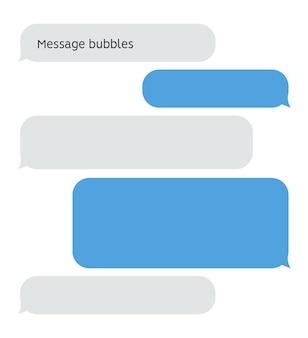 Casella di conversazione chat bolla messaggio. interfaccia vettoriale di testo sms messenger discorso palloncino.