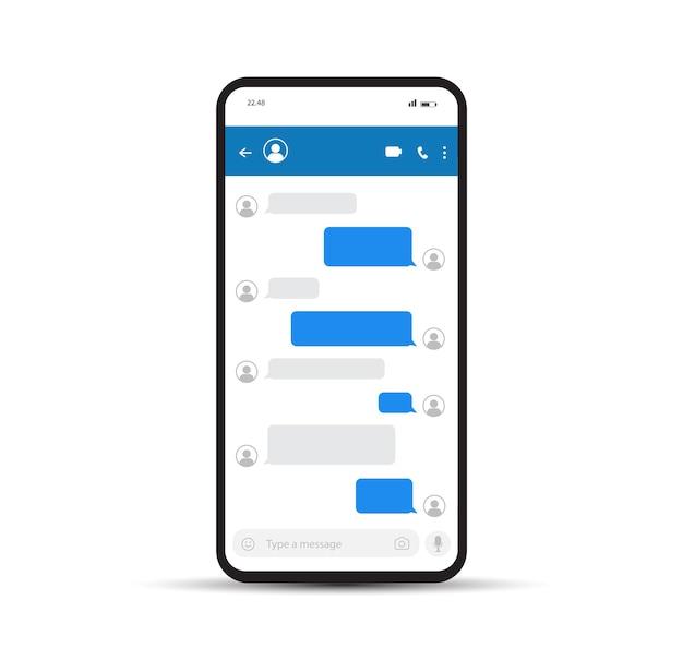 Bolle di messaggi chat su smartphone modello per casella di chat di messenger