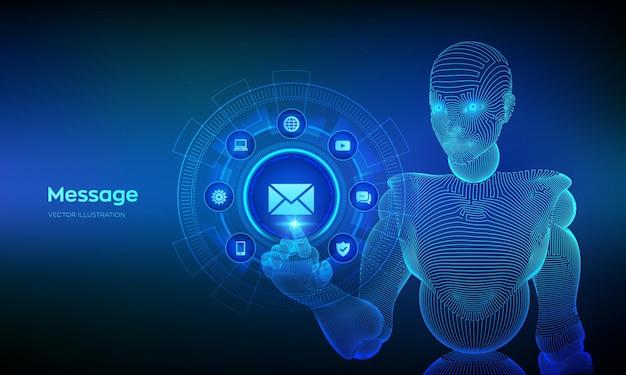 Illustrazione in linea di comunicazione della posta del email del messaggio con la mano del cyborg che tocca l'interfaccia digitale