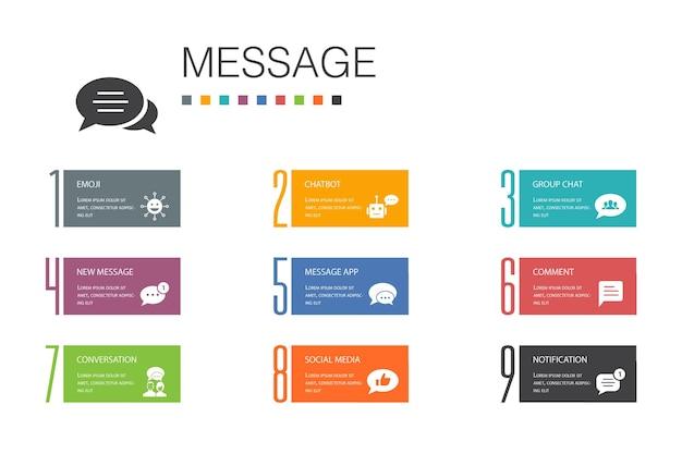 Messaggio infografica 10 linea di opzioni concept.emoji, chatbot, chat di gruppo, icone semplici dell'app di messaggi