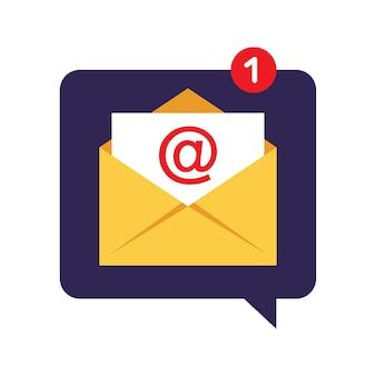 Concetto di notifica del messaggio. e-mail. illustrazione vettoriale. appartamento