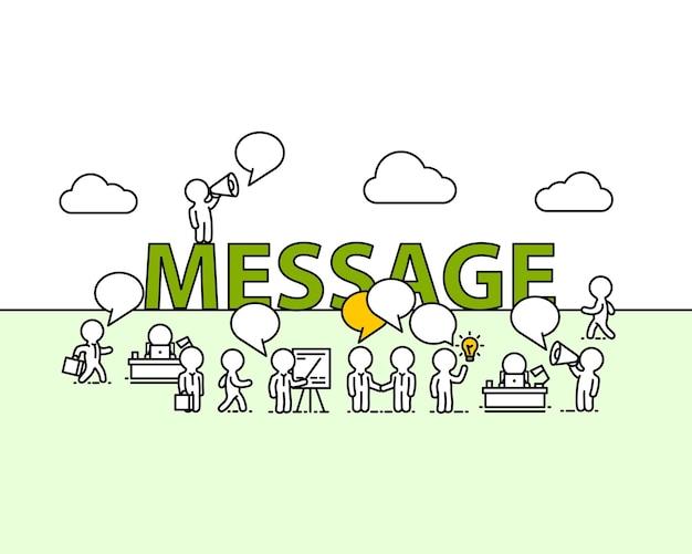 Ufficio di lavoro del testo del messaggio con le persone. illustrazione vettoriale