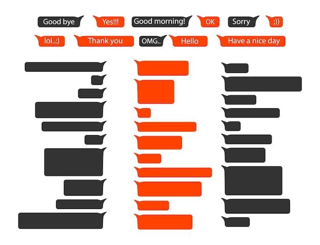 Messaggi bolle o icone dei messaggi sms. bolle di messaggi per chat. modello di progettazione di bolle per chat di messenger. modello di messaggio telefonico con chat di social network e fumetti.
