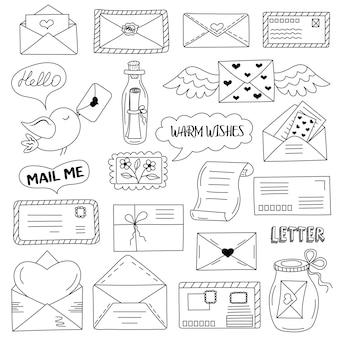 Messaggi, buste, lettere in stile scarabocchio. concetto di comunicazione.
