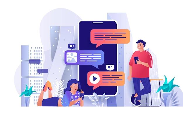 Illustrazione del concetto di design piatto del servizio di messaggistica dei personaggi delle persone