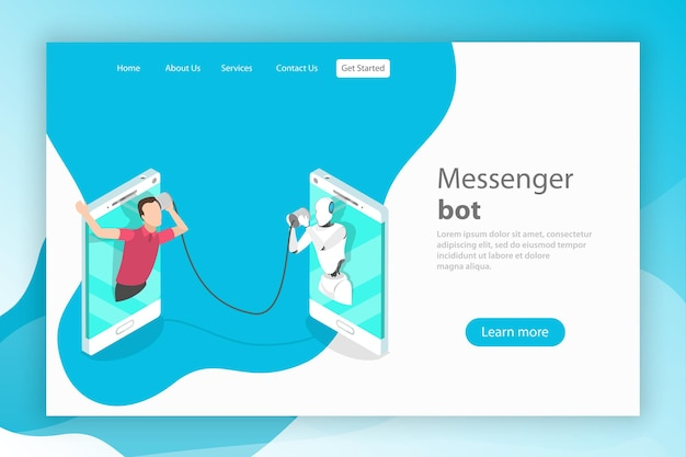 Messenger bot ai supporto clienti di intelligenza artificiale