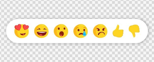 Emoticon di chat di messaggistica in cornice bianca o raccolta di reazioni emoji per i social media