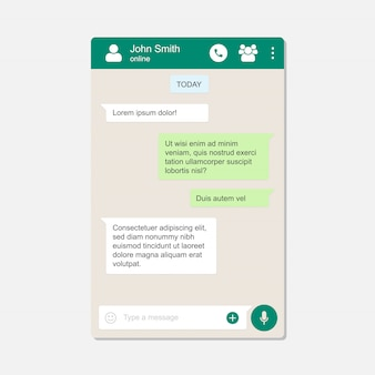 Pagina chat di messenger sfondo piatto
