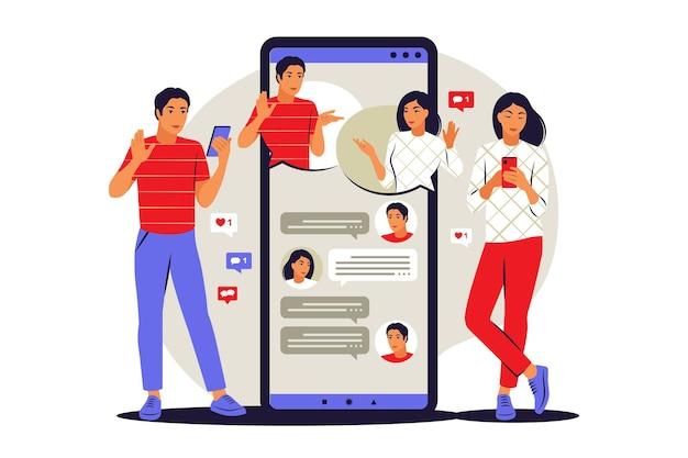 Concetto di messaggero. le persone inoltrano messaggi ad amici o colleghi. illustrazione vettoriale. appartamento.
