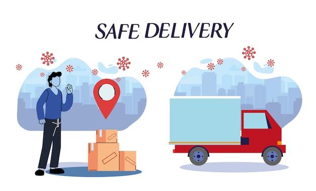Messenger e camion che trasportano pacchi attraverso la città con protocolli di sicurezza