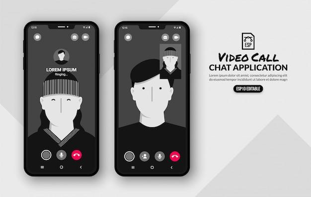 Modello di chiamata video di messenger, comunicazione sui social media