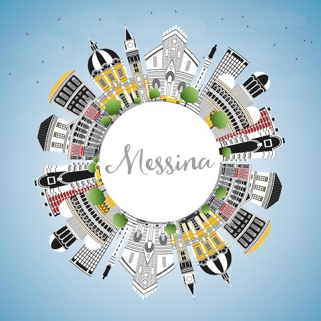 Messina sicilia italia dello skyline della città con edifici di colore, cielo blu e spazio di copia. illustrazione di vettore. viaggi d'affari e concetto con architettura moderna. paesaggio urbano di messina con punti di riferimento.