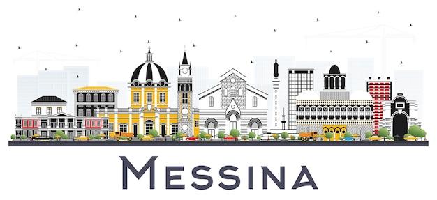 Messina sicilia italia dello skyline della città con edifici di colore isolato su bianco. illustrazione di vettore. viaggi d'affari e concetto con architettura moderna. paesaggio urbano di messina con punti di riferimento.