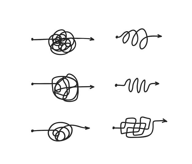 Linea disordinata concetto impostato complicato modo di bugna isolato su sfondo bianco percorso di scarabocchio caotico processo difficile modi