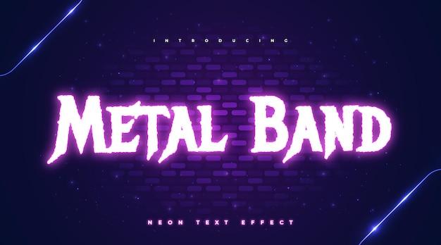Testo modificabile con banda metallica con effetto neon incandescente