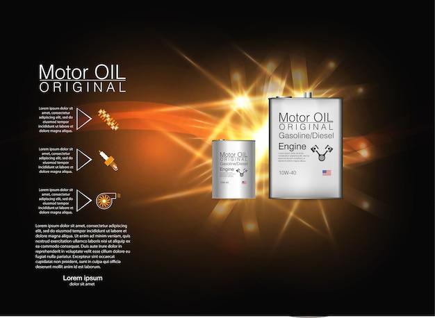Sfondo di olio motore bottiglia di metallo, illustrazione.