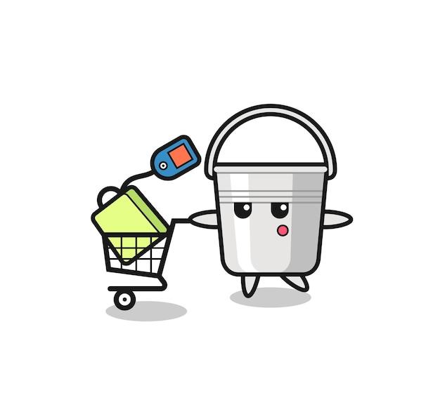 Fumetto dell'illustrazione del secchio di metallo con un carrello della spesa, design in stile carino per maglietta, adesivo, elemento logo