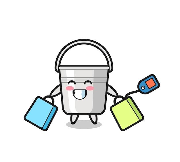 Fumetto della mascotte del secchio di metallo che tiene una borsa della spesa, design in stile carino per maglietta, adesivo, elemento logo