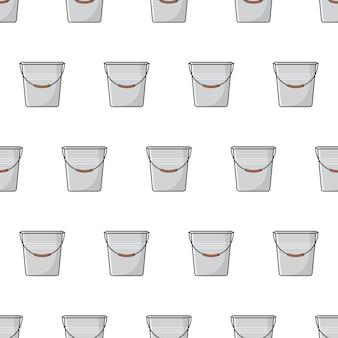 Secchio di metallo seamless su uno sfondo bianco. illustrazione del tema del contenitore del secchio