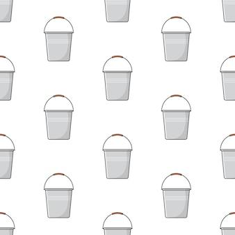 Secchio di metallo seamless su uno sfondo bianco. illustrazione di tema del secchio di metallo