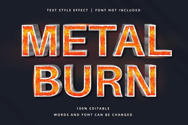 Effetto di testo modificabile brucia metallo