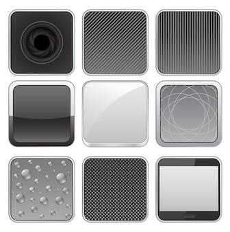 Set di icone web pulsante di metallo