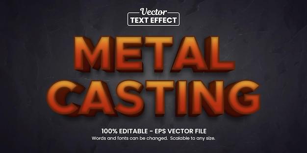 Acciaio in fusione di metallo, effetto testo modificabile Vettore Premium