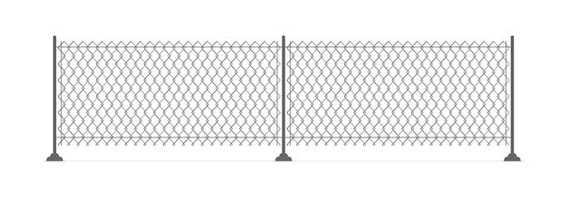 Recinzione a catena metallica. recinto di filo metallico isolato
