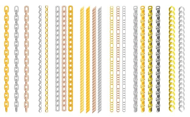 Catene di metallo grande set catenella d'oro in linea o collegamento metallico di gioielli illustrazione set di concatenamento stringa e collana isolato su sfondo trasparente