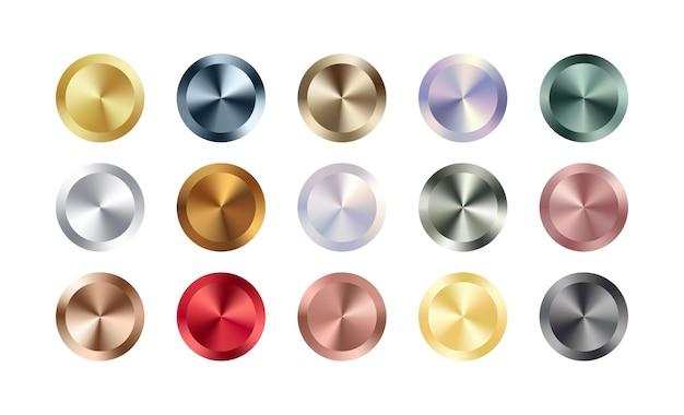 Set di badge cerchio in metallo cromato. oro rosa metallizzato, bronzo, argento, acciaio, arcobaleno olografico, bottoni dorati. lamina lucida