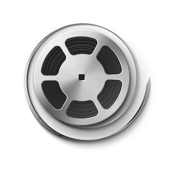 Bobina di film in metallo con nastro da vicino vista dall'alto