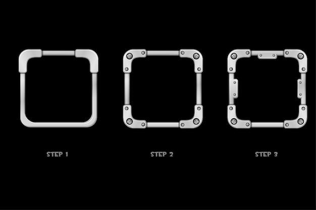 Avatar con struttura in metallo, passaggi quadrati in ferro di disegno per il gioco dell'interfaccia utente. illustrazione fumetto icona cornice grigia in miglioramento