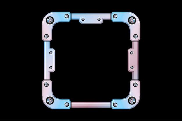 Avatar con struttura in metallo, modello quadrato in ferro per il gioco dell'interfaccia utente