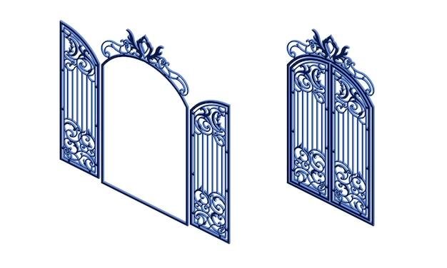Icona di cancelli metallici. isometrica di cancelli metallici icona vettoriali per il web design isolato su sfondo bianco