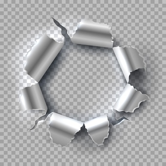 Foro di metallo. acciaio che esplode con bordi strappati e strappati isolati su sfondo trasparente Vettore Premium