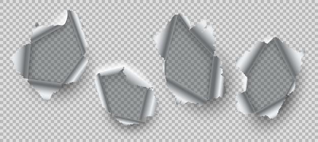 Foro metallico. bordi strappati di acciaio danneggiato, scoppiare metallo con fori strappati sfilacciati. set di peeling incrinato incrinato tranciato rottura rottura realistica vettore fessure di distruzione realistica
