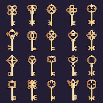 Collezione di chiavi in metallo. collezione di chiavi in acciaio sagome simboli di loghi vettoriali di sicurezza. illustrazione chiave d'oro per porta di sicurezza, protezione sicura