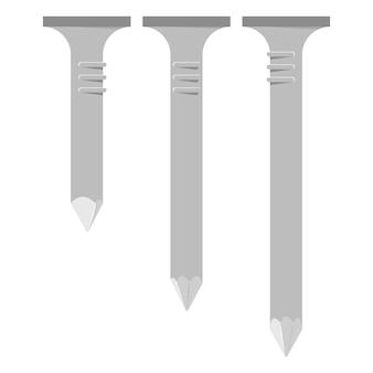 Chiodi di metallo insieme del fumetto di vettore isolato su sfondo bianco.