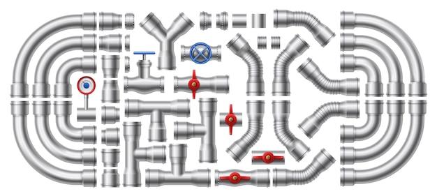 Pipeline di metallo. insieme dell'illustrazione di tubi d'acciaio, connettori per tubi e valvole industriali.