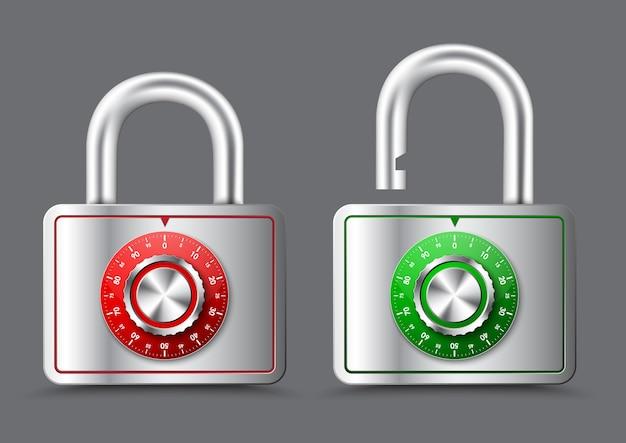 Lucchetto rettangolare in metallo con maniglia aperta e chiusa, con quadrante rotondo meccanico per la composizione di una password o codice pin