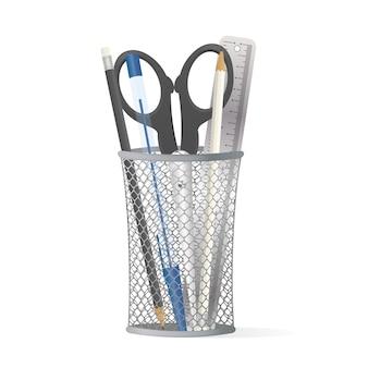 Supporto in metallo per penne. vetro per cancelleria.