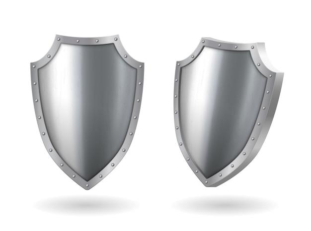 Metallo acciaio scudo metallo realistico icona laterale e modello di vista frontale con bagliore di riflessione, trofeo premio o modello di certificato isolato su priorità bassa bianca. illustrazione vettoriale