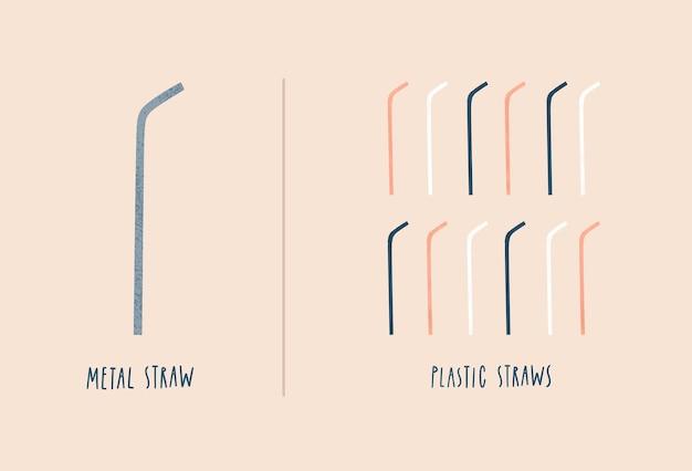 Cannuccia di metallo vs cannucce di plastica monouso zero sprechi