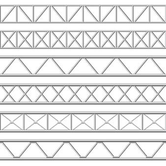 Trave reticolare in metallo. strutture in tubi di acciaio, travatura del tetto e struttura del palco in metallo senza saldatura