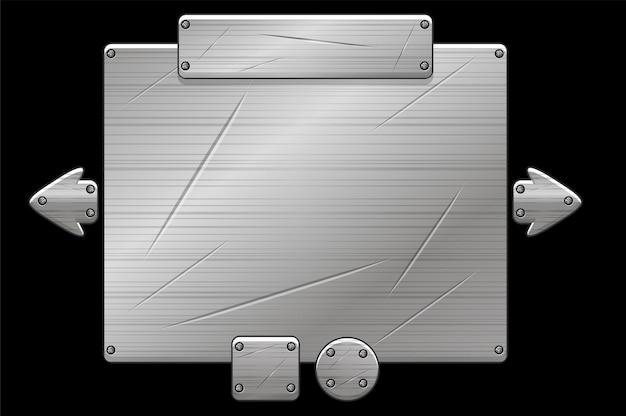 Pannello di interfaccia utente in metallo pop-up per gioco, struttura in ferro grigio.